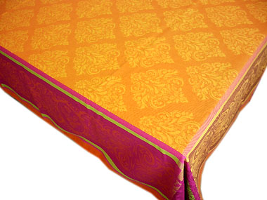French Jacquard tablecloth, Teflon (Prestige. Orange)