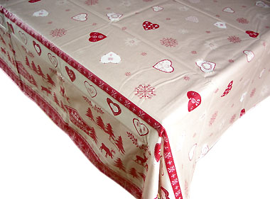 French coated tablecloth (Noel , beige-red)