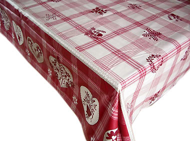 French coated tablecloth (Montagne vichy, beige-red)