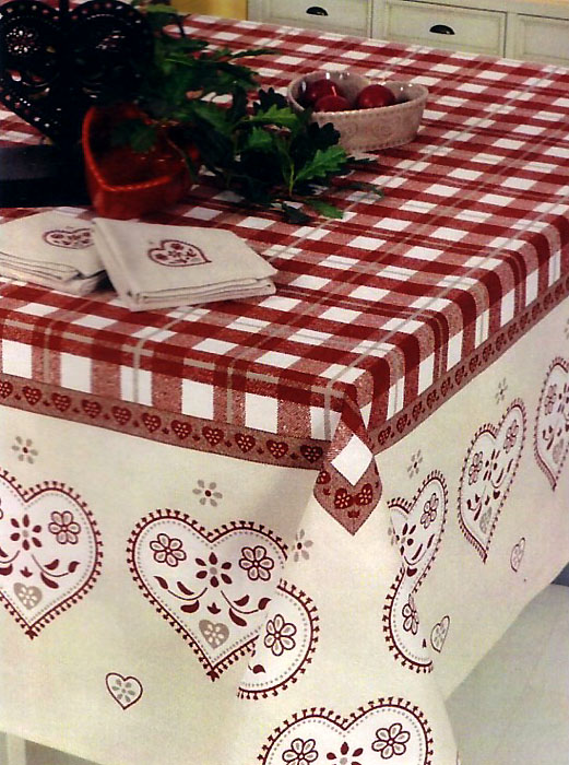 Coated Tablecloth Christmas Edelweiss Bordeaux X Green