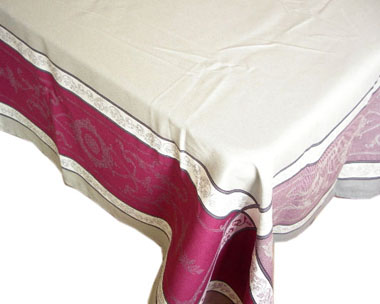 French Jacquard tablecloth, Teflon (Montmirail. plum gray)