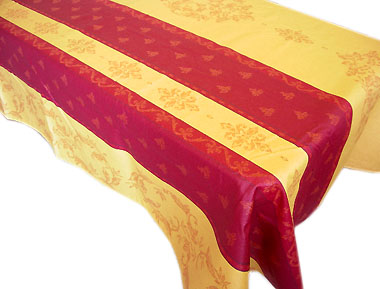 French Jacquard woven coated tablecloth (Montaulieu. Yellow)