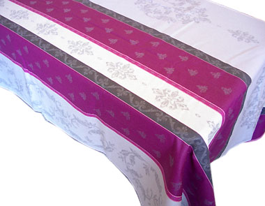 French Jacquard woven coated tablecloth (Montaulieu. Gray/plum)