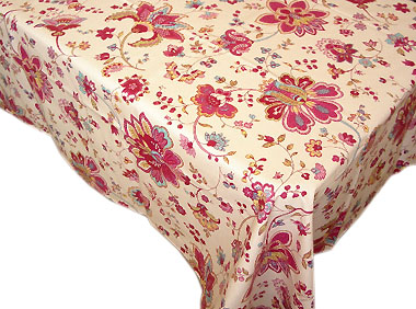 Coated tablecloth (Marat d'Avignon / perse. raw x rose)