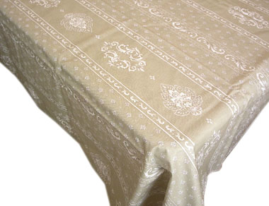 Coated tablecloth (Marat d'Avignon / manoir. natural)