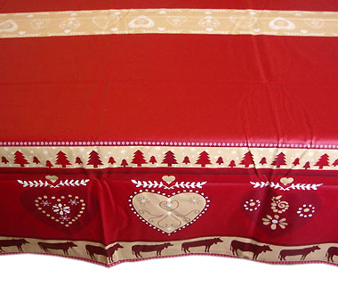 French coated tablecloth (Heidi , red)