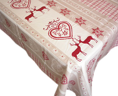 French coated tablecloth (Chambery , raw-red)