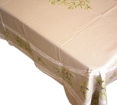French coated tablecloth (olives 05. taupe)