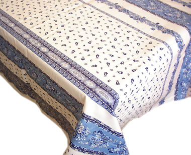 Coated tablecloth (Marat d'Avignon / tradition. white × blue)