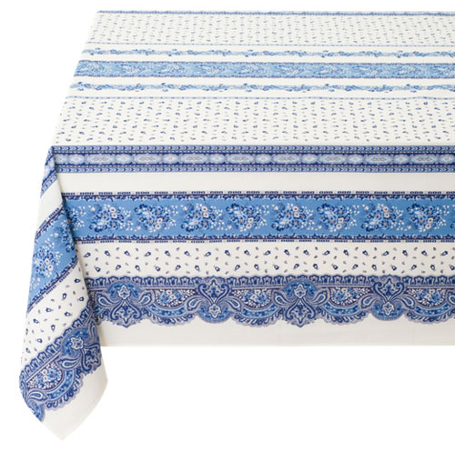 Coated tablecloth (Marat d'Avignon / tradition. white blue)