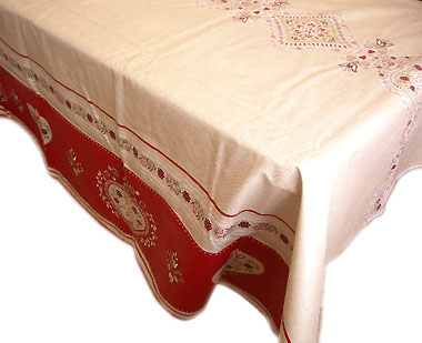 French coated tablecloth (Montgenevre, Linen-red)