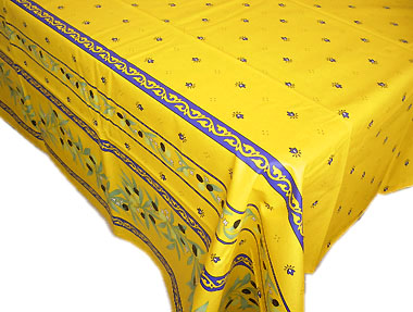 French coated tablecloth (Ramatuelle. Yellow-blue)