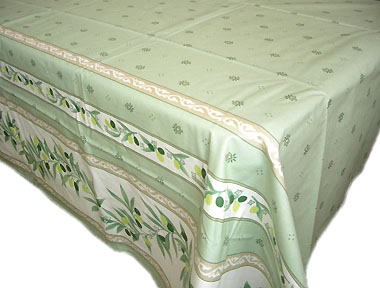 French coated tablecloth (Ramatuelle. Mint green)