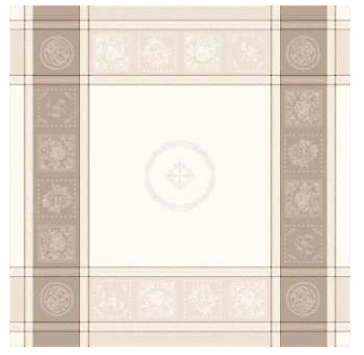 French Jacquard tablecloth, Teflon (Monogramme. raw x taupe)