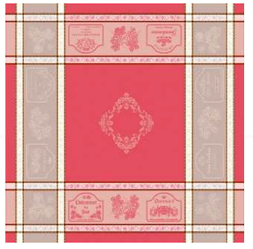French Jacquard tablecloth, Teflon (Vignoble. Red)