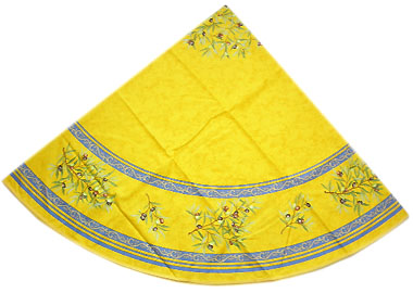 French Round Tablecloth Coated Olives 2005 Yellow X Blue