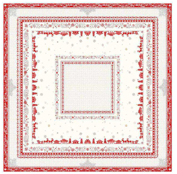 French Jacquard multi-cover (Montagne Minuit. beige-bordeax)