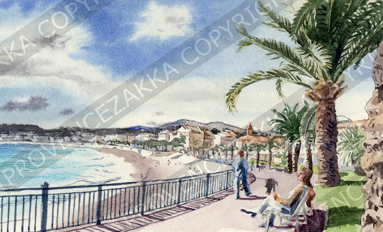 Nice, Baie des Anges, French water color painting, signed print