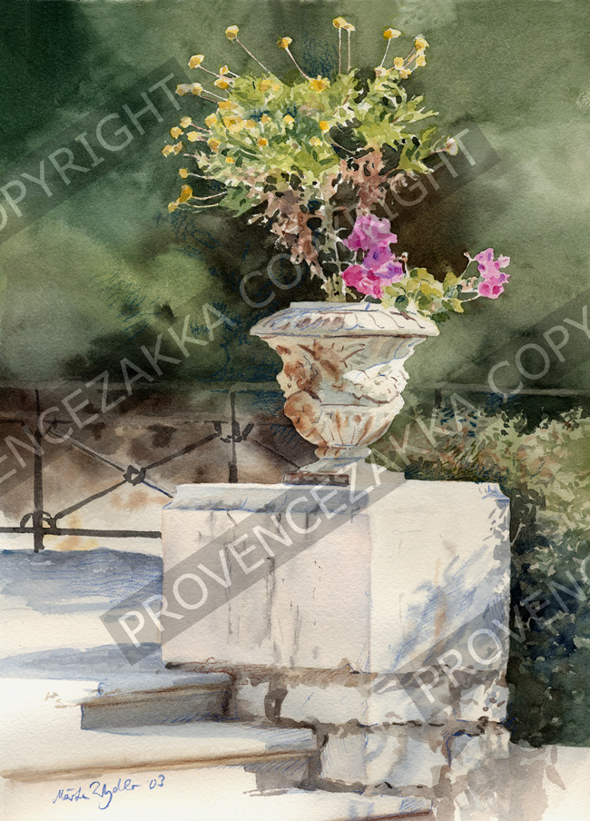 Nice Castle flowers, water color painting, signed print