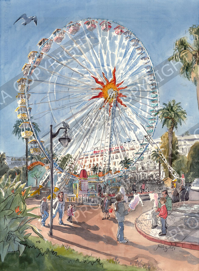 Nice Ferris wheel, water color painting, signed print