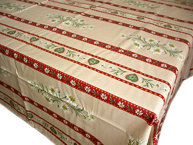 Coated tablecloth (Christmas. Edelweiss pink x beige bordeaux)