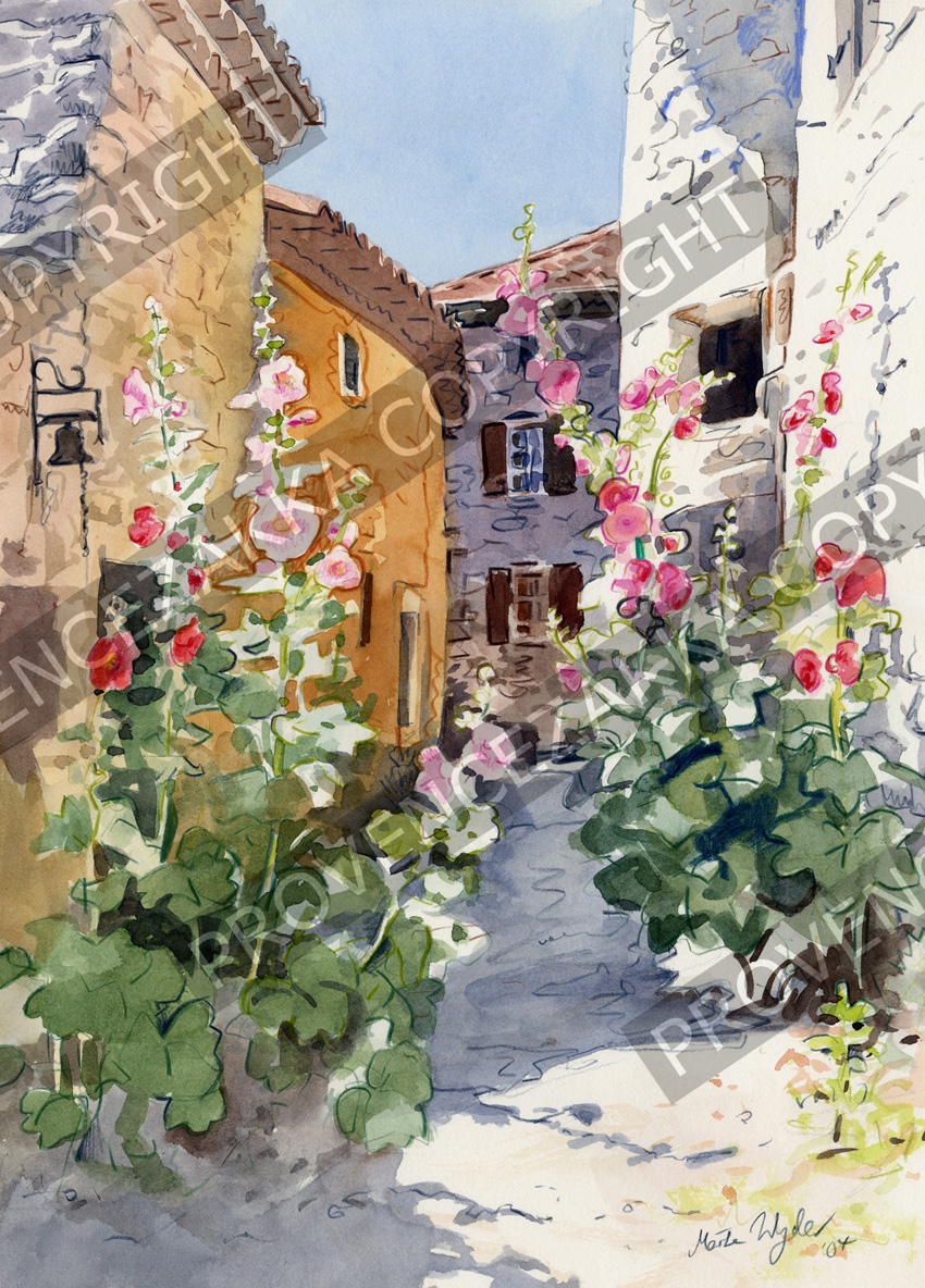 Provence Hollyhocks, water color painting, signed print