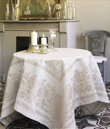 French Linen Jacquard Tablecloth Berlioz Natural