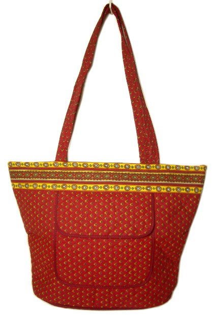 Provence pattern trapezoid tote bag (bordeaux x yellow)
