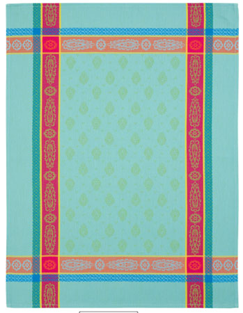 Set of 3 French Jacquard dish cloths (Vaucluse. Turquoise