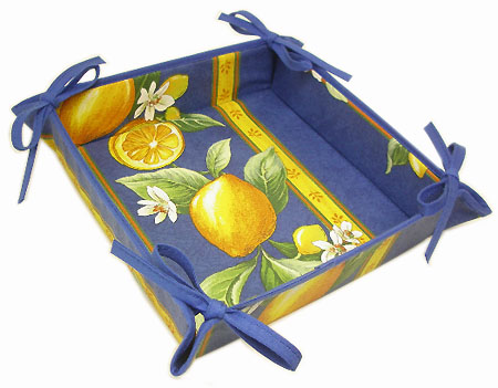 Provencal bread basket (lemons. blue)
