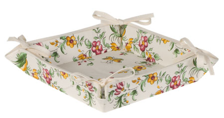 "Provencal ""coated"" bread basket (Moustiers. white x rose)"