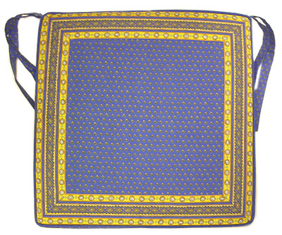 Provence Seat Cover with Ties (Lourmarin. blue)