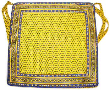 Provence Seat Pad with Ties (Lourmarin. yellow x blue)