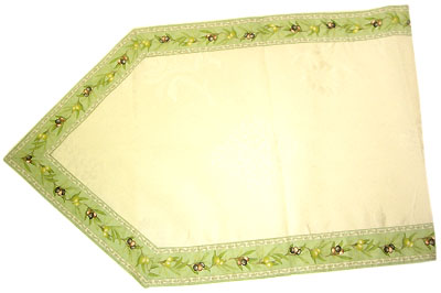 French Jacquard Table runner - vis a vis (olivette mintgreen)