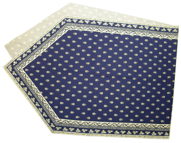 Provencal Table center - runner (Mireille_feuille. navy blue)