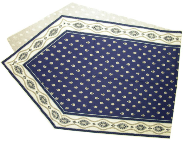 Provencal Table center - runner (Mireille_medaille.navy blue)