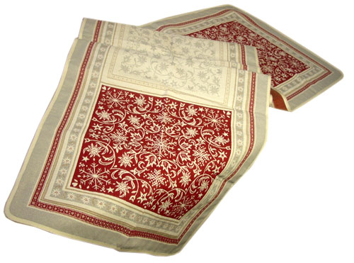 Montagne Jacquard Table runner (Himalaya. grey-red)