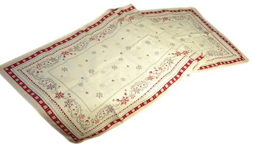 Montagne Jacquard Table runner (Montagne Minuit. beige-bordeax)