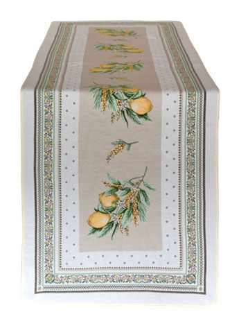 Jacquard Table runner (Menton. yellow/green)