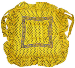 Ruffled seat cushion (Lourmarin. yellow × blue)