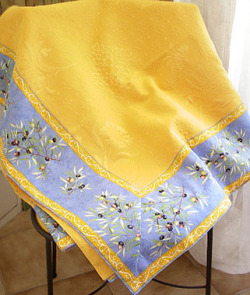 French Jacquard multi-cover (olives 2005. blue x yellow)