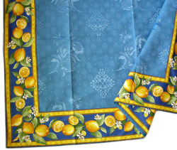 Jacquard multi-cover (lemon & small flowers. blue)