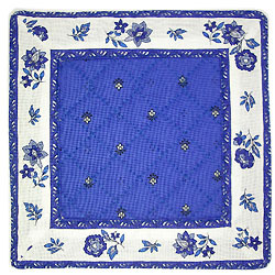 French Provence coaster (Calissons flowers. blue x white)