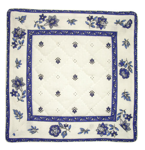 French Provence coaster (Calissons flowers. white x blue)