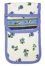 French sunglasses case (flower pattern. white x blue)