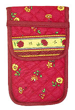 French sunglasses case (flower pattern. bordeaux x yellow)