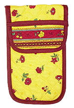 French sunglasses case (flower pattern. yellow x bordeaux)