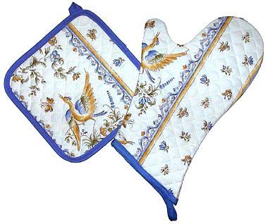 Oven Mitt & Square Pot Holder Set (Moustiers. raw x blue)