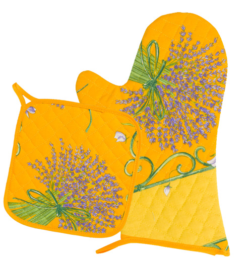 Oven Mitt & Square Pot Holder Set (Lavender. yellow)