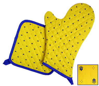 Oven Mitt & Square Pot Holder Set (calissons. yellow x blue)
